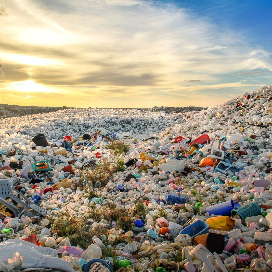 Plastic waste dumping island on the sunny maldives