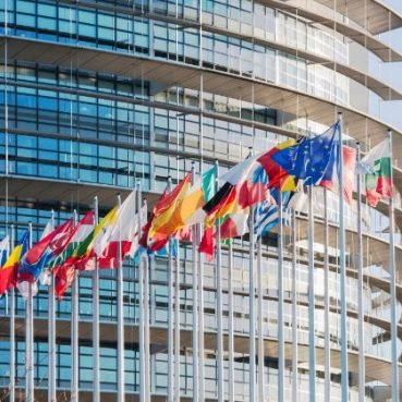 flags of europe outside large building